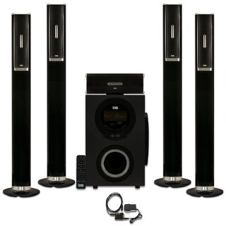 Acoustic Audio AAT3002 Tower 5.1 Bluetooth Home Speaker System w/ Optical Input