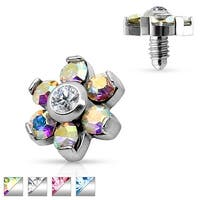 Prong Set Crystal Flower 316L Surgical Steel Internally Threaded Dermal Anchor Top (Sold Ind.)