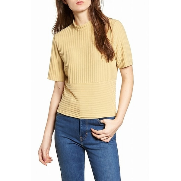 b5b5c4bc0462a Shop PST Yellow Women's Size XS Mock Neck Ribbed Short Sleeve Top - Free  Shipping On Orders Over $45 - Overstock - 27490090