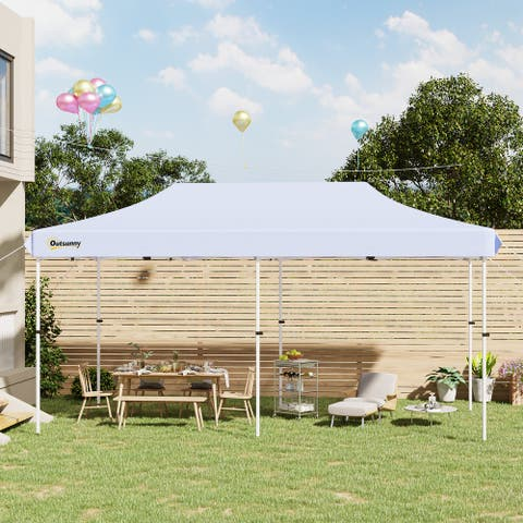 Outsunny 20' x 10' Garden Foldable Pop Up Canopy Tent Gazebo Aluminum Farme with Adjustable Legs & Roller Bag