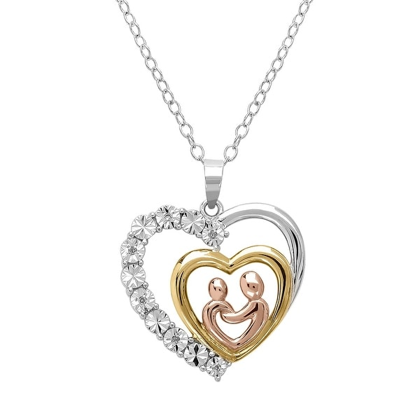 Mother with Child Diamond Heart Necklace in Tri Colored Sterling Silver