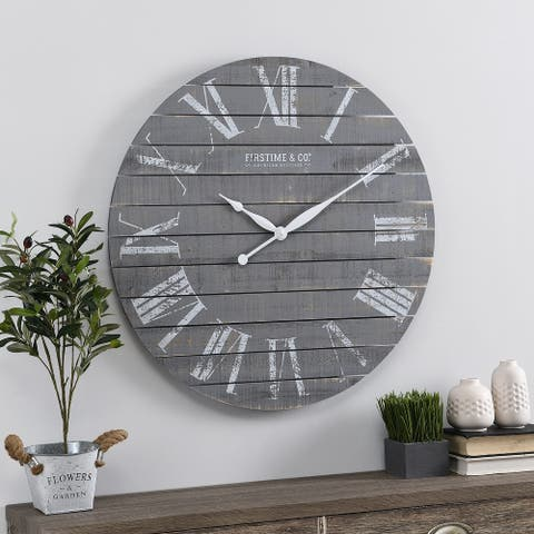 FirsTime & Co.® Gray Aranza Shiplap Farmhouse Clock, American Crafted, Gray, Wood, 29 x 2.25 x 29 in - 29 x 2.25 x 29 in