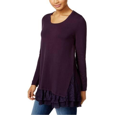 Style & Co. Womens Lace Insert Knit Sweater, Purple, X-Small