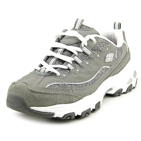 Skechers D'Lites-Me Time Women Round Toe Leather Gray Sneakers