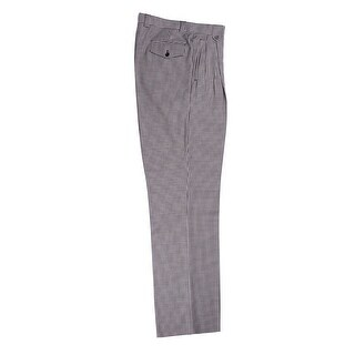 Black and White Check Pattern Wide Leg Dress Pants Pure Wool by Tiglio Luxe