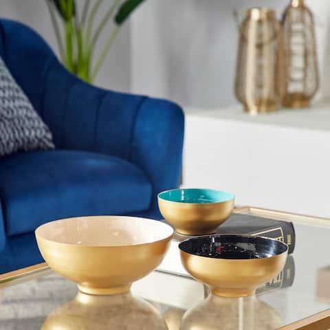 Multi Metal Contemporary Decorative Bowl (Set of 3) - 14 x 10 x 4Round