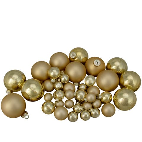"""40ct Gold Glass 2-Finish Christmas Ball Ornaments 2.5"""" (60mm)"""