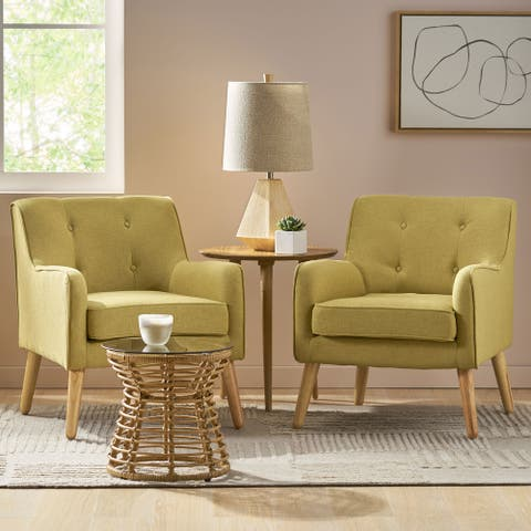 Felicity Mid-Century Modern Fabric Tufted Arm Chair (Set of 2) by Christopher Knight Home