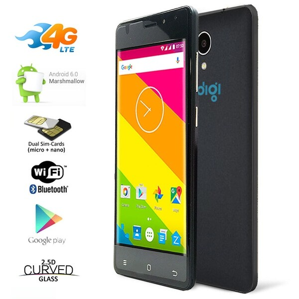 Indigi Unlocked 5in 4G Lte GPS Dual Sim 4Core Android 6.0 Smartphone AT&T Straight Talk - Black