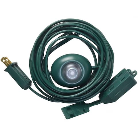 Woods 10203 Extension Cord With Lighted Foot Switch, 15', Green