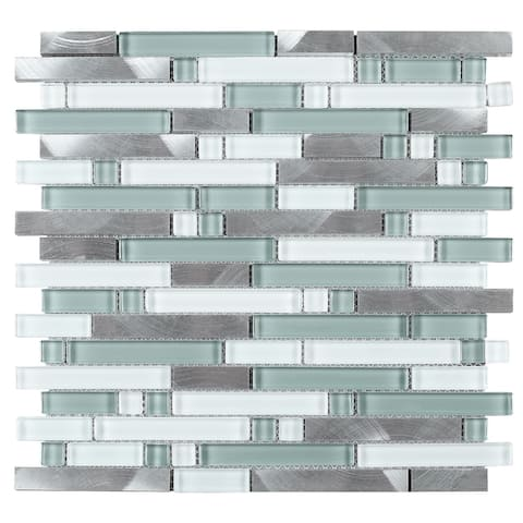 TileGen. Series Thread Random Sized Mosaic Tile in Blue/White Wall Tile (10 sheets/9.6sqft.)