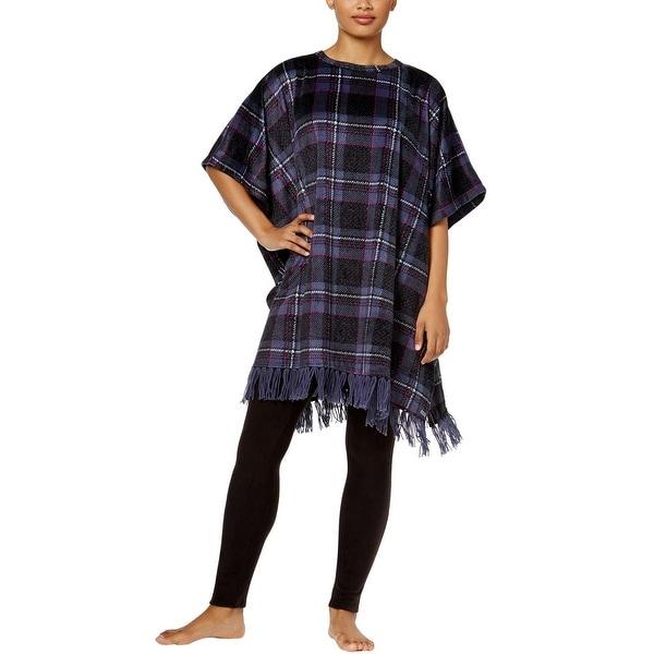 DKNY Ladies Anchor Black Multicolor Plaid Fleece Lounge Poncho Large