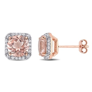 Link to Miadora Rose Plated Sterling Silver Simulated Morganite & Cubic Zirconia Cushion Halo Stud Earrings - 8.7mm x 6.1mm Similar Items in Earrings