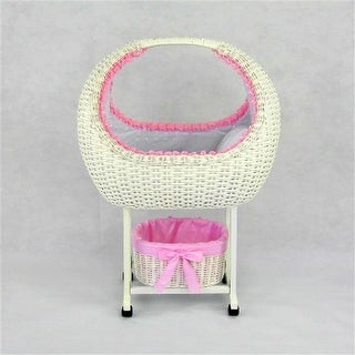 Megan Wicker Doll Bed Crib Cot with Stand and Tidy