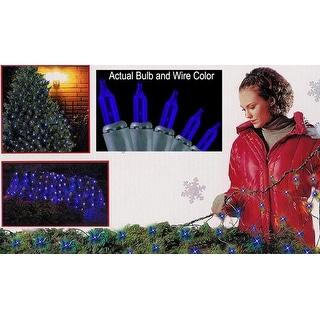 4' x 6' Blue Mini Net Style Christmas Lights - Green Wire