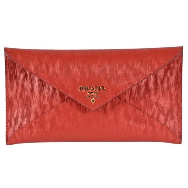 a5f3cd73f116 Prada 1MF175 2EZZ Red Vitello Saffiano Leather Flap Envelope Wallet Clutch