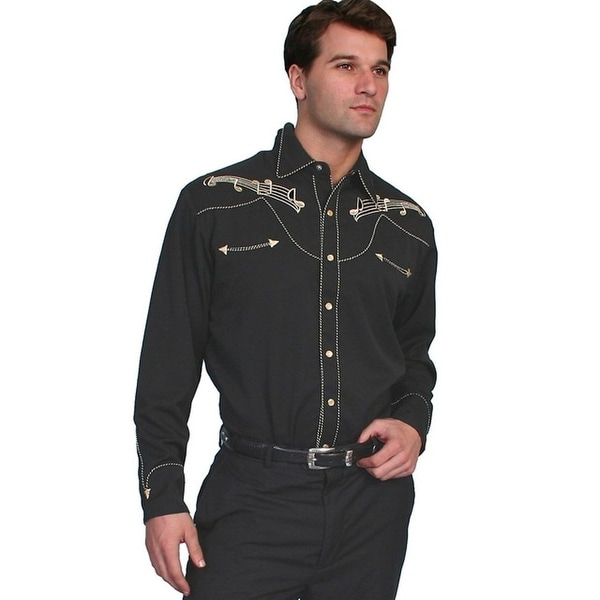 38ac503961 Shop Scully Western Shirt Mens L S Snap Embroidered Music Notes - Free  Shipping Today - Overstock - 15383038