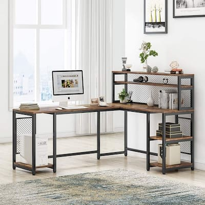 """67"""" Large Computer Desk with Hutch"""