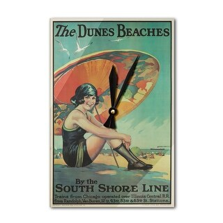 USA - The Dunes Beaches - (artist: Urgelles c. 1925) - Vintage Advertisement (Acrylic Wall Clock)