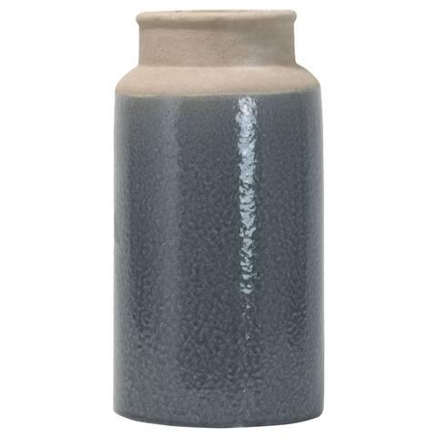 Foreside Home & Garden Blue Glazed Stoneware Vase