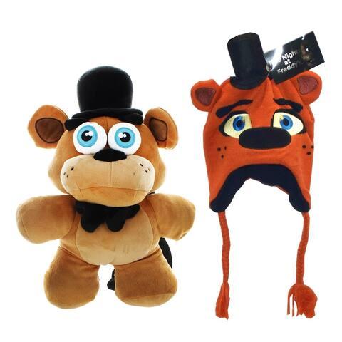 Five Nights at Freddy's Freddy Fazbear Beanie and Plush Backpack Bundle - Multi