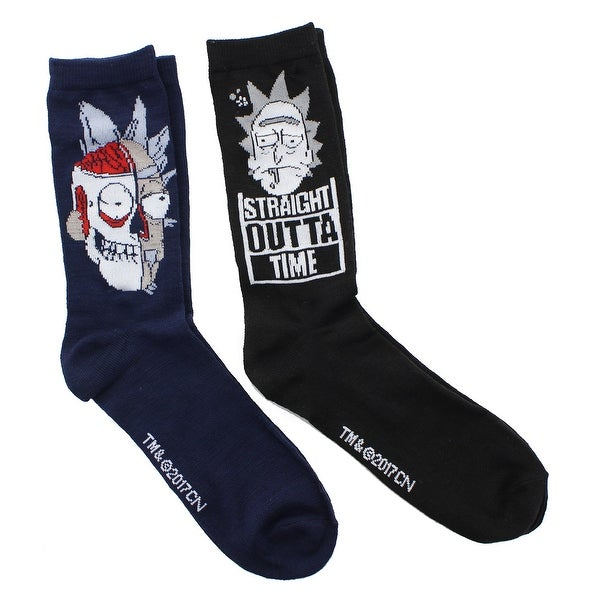Rick and Morty Adult Crew Socks, Rick 2-Pack - Blue