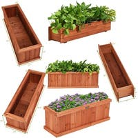 Giantex 28/36/40 Inch Wooden Flower Planter Box Garden Yard Decorative Window Box Rectangular
