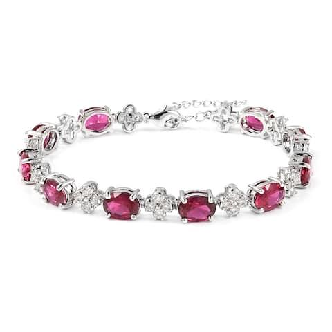 Ruby White Cubic Zirconia Classic Tennis Bracelet Platinum Plated 8 In - Bracelet 8.5''