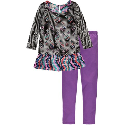 Bonnie Jean Girls 4-6X Striped Legging Set - Purple