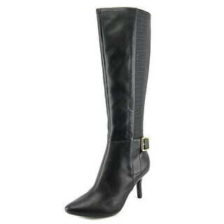 Calvin Klein Julietta Pointed Toe Leather Knee High Boot