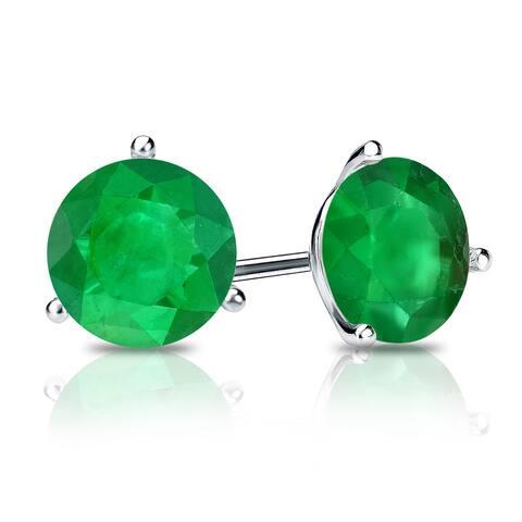Auriya 14k Gold 2/5ctw Green Emerald Gemstone Stud Earrings Martini-set