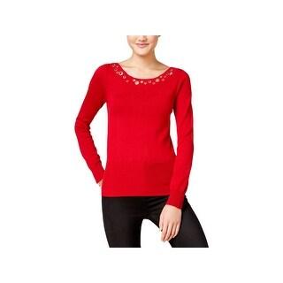 XOXO Womens Juniors Pullover Sweater Grommet V-Neck