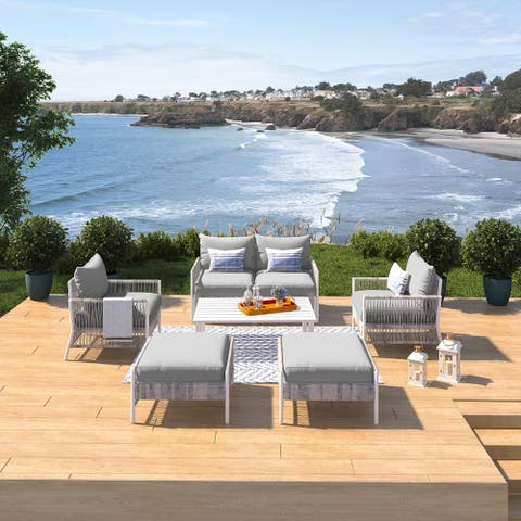 Olivia Grey 7 Piece Outdoor Roped Wicker Sofa Set