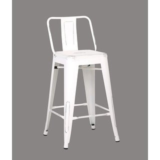 Shop Distressed Metal Barstool With Back White 24 Inch Set Of 2
