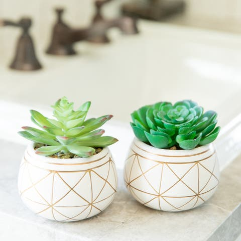 """Set of 2 Artificial Plant Succulent in 4"""" GEO GOLD ROUND CERAMIC Pot - ONE-SIZE"""