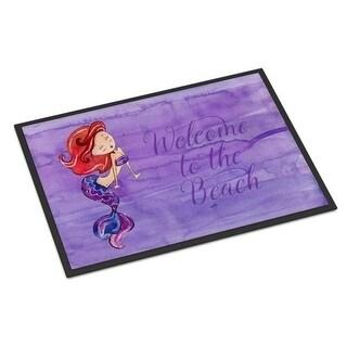 Carolines Treasures BB8514JMAT Mermaid Welcome Purple Indoor Or Outdoor Mat - 24 x 36 in.