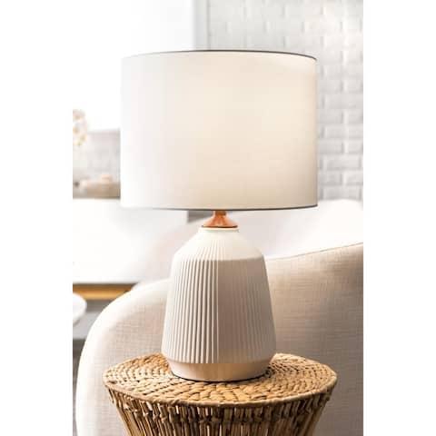 "nuLOOM 24'' Bridget Ceramic Linen Shade Table Lamp - 24"" h x 15"" w x 15""d"