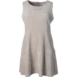 Calvin Klein Womens Sleeveless Faux Suede Wear to Work Dress