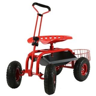 Sunnydaze Rolling Garden Cart w/ Extendable Handle Pneumatic - Multiple Colors