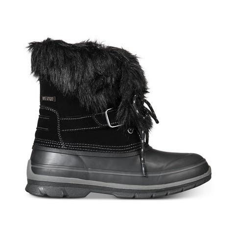 Khombu Womens Brooke Leather Closed Toe Mid-Calf Cold Weather Boots