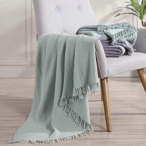 "Modern Threads Reversible 100-Percent Cotton Throw 50""x60"""