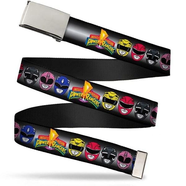 Blank Chrome Buckle Power Rangers Faces W Mmpr Logo Webbing Web Belt - S
