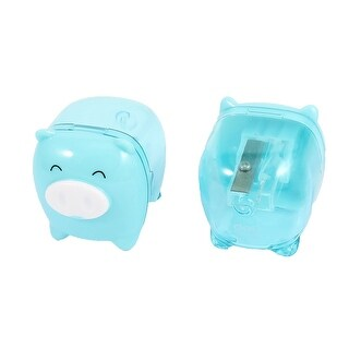 Unique Bargains 2 Pcs Blue Pig Design Plastic Housing Pencil Sharpener Students Stationery