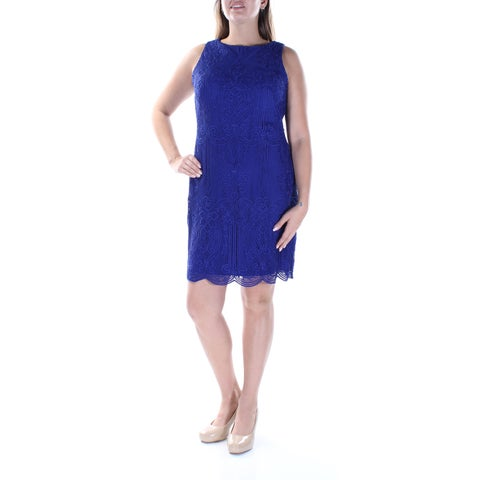 Womens Blue Sleeveless Mini Sheath Wedding Dress Size: 12