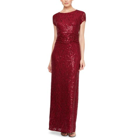 SLNY Women's Dress Maroon Red Size 14 Sequin Lace Cap Sleeve Gown