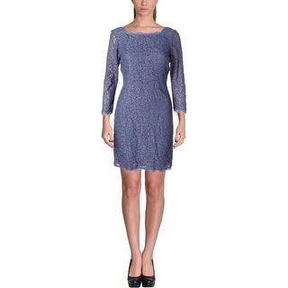Adrianna Papell Womens Lace Square Neck Cocktail Dress