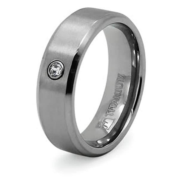 Titanium Ring with Bezel-set Cubic Zirconia (Sizes 8-12)