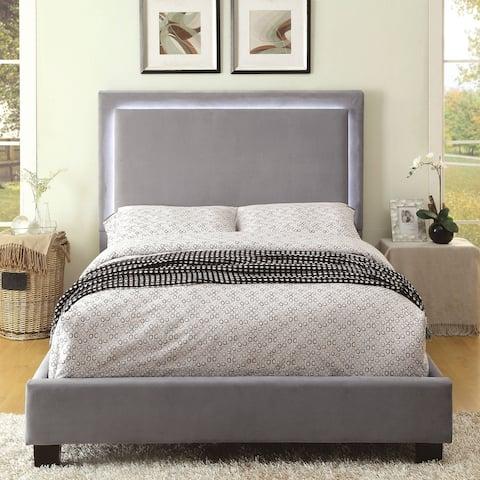 Silver Orchid Berger LED Light Grey Platform Bed