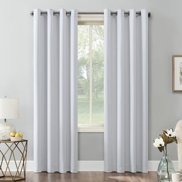 Sun Zero Hayden Energy Saving Blackout Grommet Curtain Panel, Single Panel - 54 x 108 - Dove White