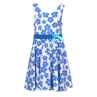 Richie House Girls' Knit Cotton Print Sundress with Bow